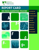 RepoRt CaRd on Food-MaRketing poliCies - A- an analysis oF Food and enteRtainMent CoMpany poliCies RegaRding Food and BeveRage MaRketing to ChildRen doc