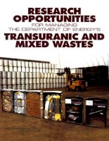 Research Opportunities for Managing the Department of Energy''''s Transuranic and Mixed Wastes potx