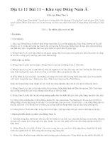 Địa Lí 11 Bài 11 – Khu vực Đông Nam Á