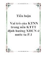 Tiểu luận Vai trò của KTNN trong nền KTTT định hướng XHCN ở nước ta P.1 potx