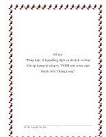 """Đề tài: """"Pháp luật về hợp đồng dịch vụ du lịch và thực tiễn áp dụng tại công ty TNHH nhà nước một thành viên Thăng Long"""" pdf"""