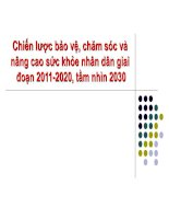 Chiến lược bảo vệ, chăm sóc và nâng cao sức khỏe nhân dân giai đoạn 2011-2020, tầm nhìn 2030 pptx
