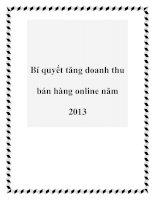 Bí quyết tăng doanh thu bán hàng online năm 2013 pdf