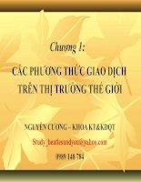 Chương 1: CÁC PHƯƠNG THỨC GIAO DỊCH TRÊN THỊ TRƯỜNG THẾ GIỚI pdf