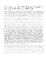 """Phân tích đoạn trích """"Vĩnh biệt Cửu Trùng Đài"""" của Nguyễn Huy Tưởng – bài mẫu 1"""