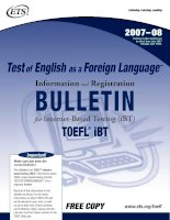 Test  of English  as a  Foreign Language for Internet-Based Testing: Information and Registration BULLETIN
