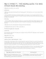 Địa Lí 10 Bài 17 – Thổ nhưỡng quyển. Các nhân tố hình thành thổ nhưỡng