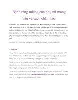 Bệnh răng miệng của phụ nữ mang bầu và cách chăm sóc pdf