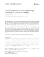 Learning to teach writing through tutoring and journal writing ppt