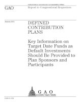 Key Information on Target Date Funds as Default Investments Should Be Provided to Plan Sponsors and Participants pdf