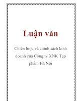 Luận văn: Chiến lược và chính sách kinh doanh của Công ty XNK Tạp phẩm Hà Nội pptx
