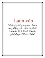 Luận văn: Những giải pháp tài chính huy động vốn đầu tư phát triển du lịch Bình Thuận giai đoạn 2006 – 2010 pot