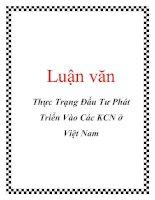 Luận văn: Thực Trạng Đầu Tư Phát Triển Vào Các KCN ở Việt Nam pdf