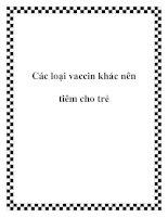 Các loại vaccin khác nên tiêm cho trẻ potx