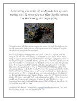 Ảnh hưởng của nhiệt độ và độ mặn lên sự sinh trưởng và tỉ lệ sống của cua biển (Scylla serrata Forskal) trong giai đoạn giống pot