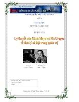 Tiểu luận: Lý thuyết của Elton Mayo và Mc.Gregor về tâm lý xã hội trong quản trị doc