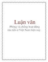Luận văn: Phòng và chống hoạt động rửa tiền ở Việt Nam hiện nay pdf