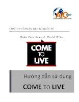 Hướng dẫn sử dụng come to live 2013 jul