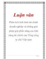 Luận văn: Phân tích tình hình tài chính doanh nghiệp và những giải pháp góp phần nâng cao khả năng tài chính của Tổng công ty chè Việt nam pptx