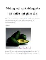 Những loại quả không nên ăn nhiều khi giảm cân potx