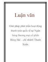 Luận văn: Giải pháp phát triển hoạt động thanh toán quốc tế tại Ngân hàng thương mại cổ phần Hàng Hải – chi nhánh Thanh Xuân. doc