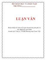 LUẬN VĂN: Hoàn thiện tổ chức kế toán doanh thu,chi phí và xác định kết quả kinh doanh tại Công ty TNHH thương mại Nam Việt pot