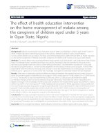 The effect of health education intervention on the home management of malaria among the caregivers of children aged under 5 years in Ogun State, Nigeria pptx
