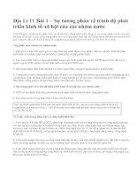 Địa Lí 11 Bài 1 – Sự tương phản về trình độ phát triển kinh tế-xã hội của các nhóm nước