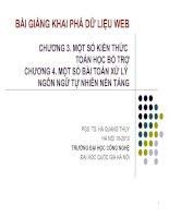 BÀI GIẢNG KHAI PHÁ DỮ LIỆU WEB (PGS. TS. HÀ QUANG THỤY) - CHƯƠNG 3 & 4 pdf