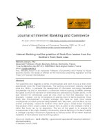 Internet Banking and the question of Bank Run: lesson from the Northern Rock Bank case pdf