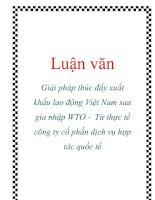Luận văn: Giải pháp thúc đẩy xuất khẩu lao động Việt Nam sau gia nhập WTO - Từ thực tế công ty cổ phần dịch vụ hợp tác quốc tế docx