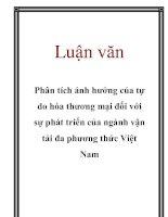 Luận văn: Phân tích ảnh hưởng của tự do hóa thương mại đối với sự phát triển của ngành vận tải đa phương thức Việt Nam potx
