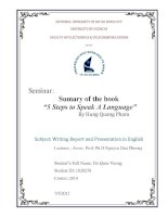 """Seminar: Sumary of the book """"5 Steps to Speak A Language"""" doc"""