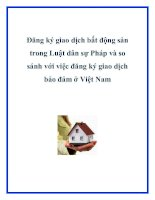 Đăng ký giao dịch bất động sản trong Luật dân sự Pháp và so sánh với việc đăng ký giao dịch bảo đảm ở Việt Nam pptx