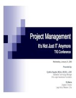 Project ManagementIt's Not Just IT Anymore TIG Conference ppt