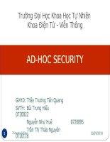 Tổng quan về bảo mật trong mạng ad - hoc trường đại học khoa học tự nhiên, thầy Trương Tấn Quang