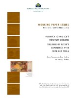 WORKING PAPER SERIES NO 1471 / SEPTEMBER 2012: FEEDBACK TO THE ECB'S MONETARY ANALYSIS THE BANK OF RUSSIA'S EXPERIENCE WITH SOME KEY TOOLS pdf