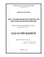 Quản lý chi ngân sách nhà nước trong đầu tư xây dựng cơ bản trên địa bàn tỉnh Bình Định