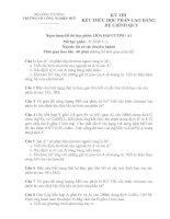 ĐỀ THI KẾT THÚC HỌC PHẦN CAO ĐẲNG HỆ CHÍNH QUY HÓA ĐẠI CƯƠNG A1 pdf