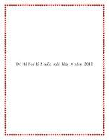 Đề thi học kì 2 môn toán lớp 10 năm 2012 doc