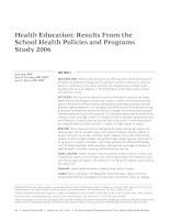 Health Education: Results From the School Health Policies and Programs Study 2006 pptx