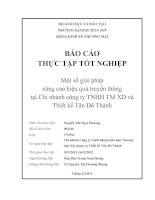 Một số giải pháp nâng cao hiệu quả truyền thông tại Chi nhánh công ty TNHH XD và Thiết kế Tân Đô Thành