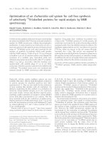 Báo cáo khoa học: Optimization of an Escherichia coli system for cell-free synthesis of selectively 15N-labelled proteins for rapid analysis by NMR spectroscopy pdf