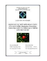 khảo sát sự biến đổi hoạt chất của quả sơri (malpighia punicifolia) theo độ chín và theo quá trình lên men rượu