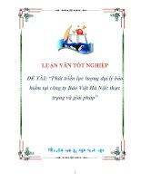luận văn:Phát triển lực lượng đại lý bảo hiểm tại công ty Bảo Việt Hà Nội: thực trạng và giải pháp pdf