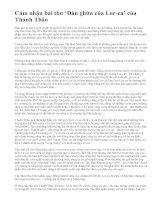 Cảm nhận bài thơ 'Đàn ghita của Lor-ca' của Thanh Thảo