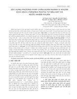 XÂY DỰNG PHƯƠNG PHÁP CHẨN ĐOÁN NHANH VI KHUẨN DỊCH HẠCH (YERSINIA PESTIS) TỪ MẪU ĐẤT VÀ NƯỚC NHIỄM KHUẨN ppt