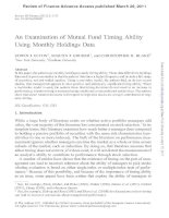 An Examination of Mutual Fund Timing Ability Using Monthly Holdings Data ppt