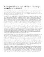 """Cảm nghĩ về truyện ngắn  """" Chiếc lá cuối cùng """" của Ohenri – bài mẫu 3"""