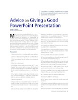 advice on giving a good powerpoint presentation